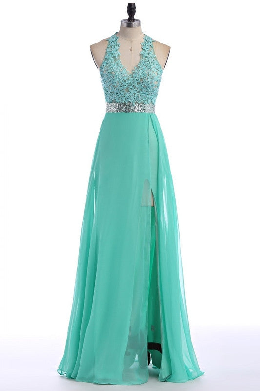 V-Neck A-Line Halter Prom Dresses,Evening Dresses