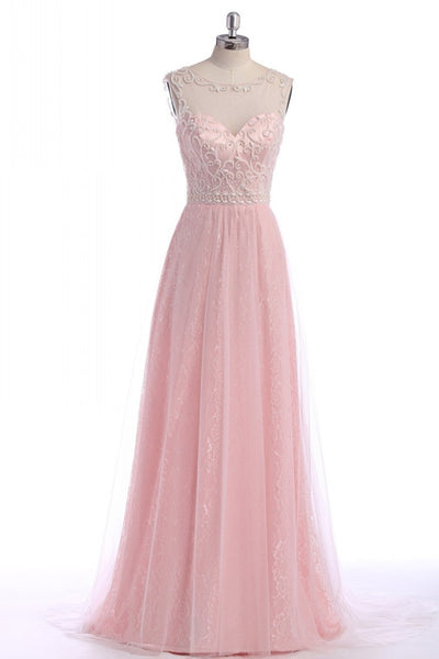 A-Line Pink Lace Sleeveless Prom Dresses,Evening Dresses