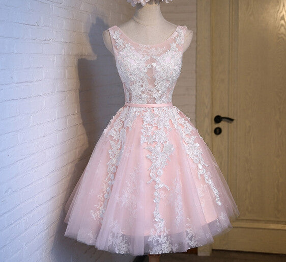Straps Pink Prom Dresses,Short Applique Prom Dress,Evening Dresses