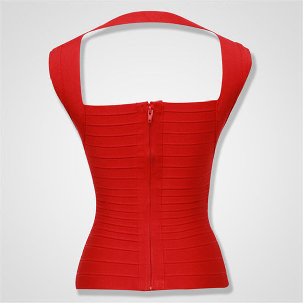 Red Women New Arrival Red Elastic Bandage Crop Top