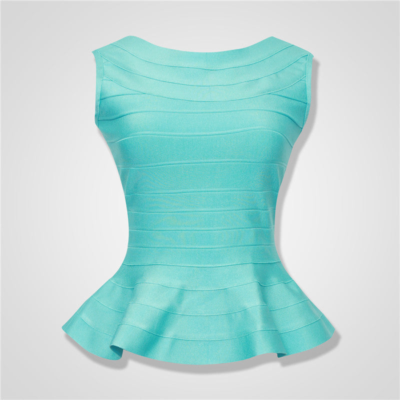 Women Summer Fashion Aqua Fluted Bandage Tops