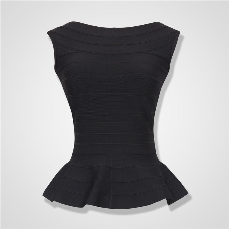 Black Women Summer Fashion Aqua Fluted Bandage Tops