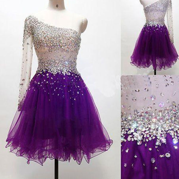 Purple One Shoulder Homecoming Dress, Purple Cocktail Dress with One shoulder