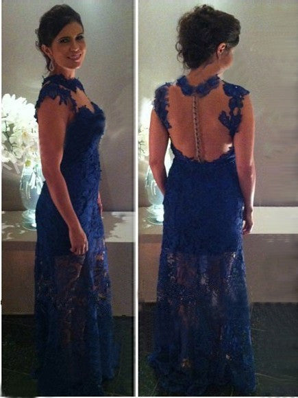 Royal Blue Lace Sleeveless Prom Dresses,Evening Dresses