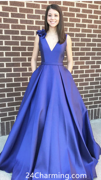 A Line Royal Blue Elegant Prom Dress Pageant Dress