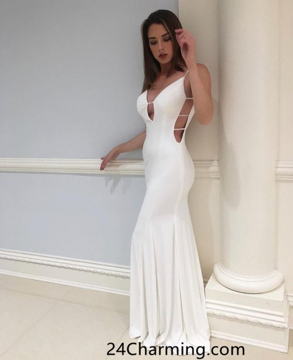 White Jersey Sexy Prom Dress, Long White Pageant Dress