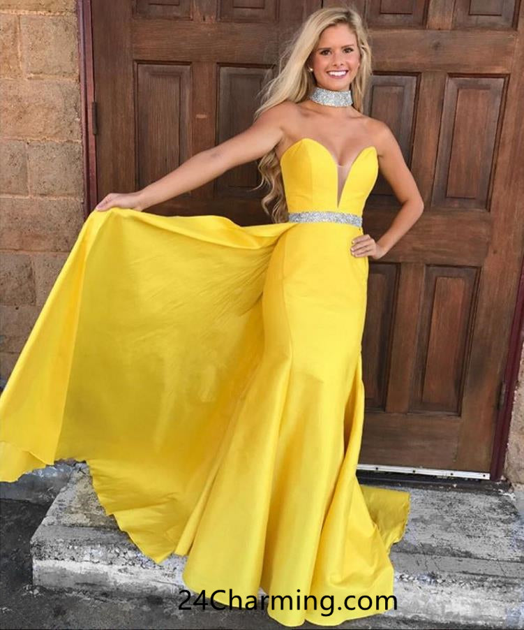 Sexy Strapless Deep V Neckline Yellow Prom Dress, Yellow Mermaid Sxy Pageant Dress