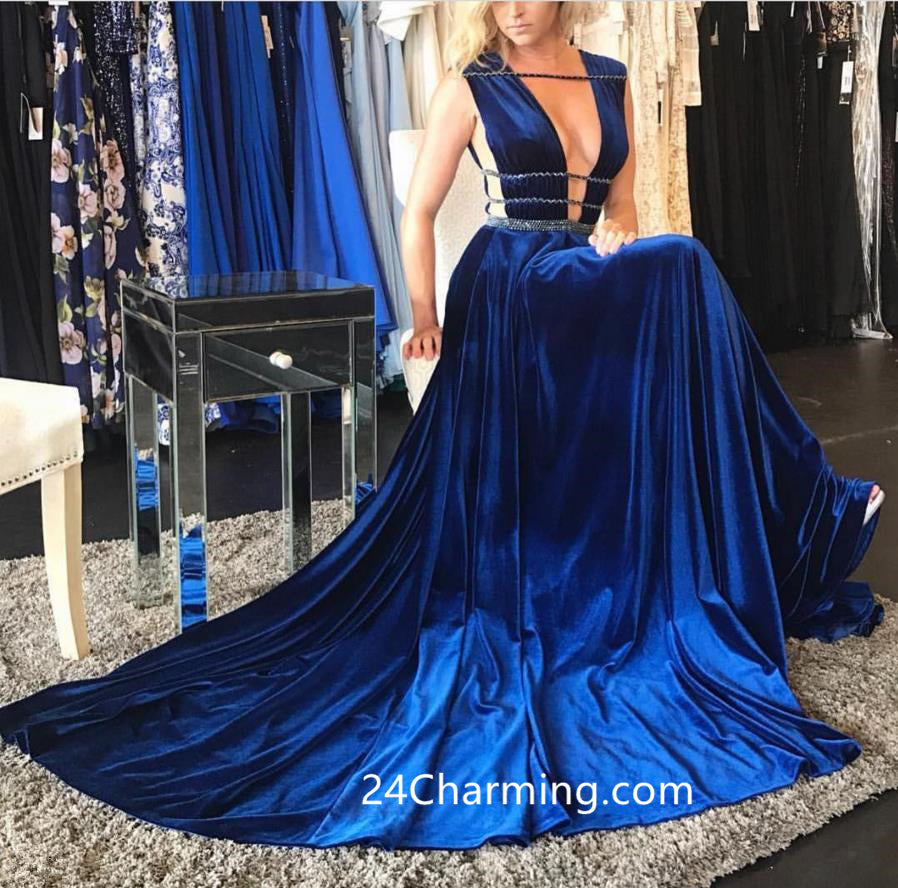 A Line Sexy Blue Velvet Prom Dress, Sxey Pageant Dress