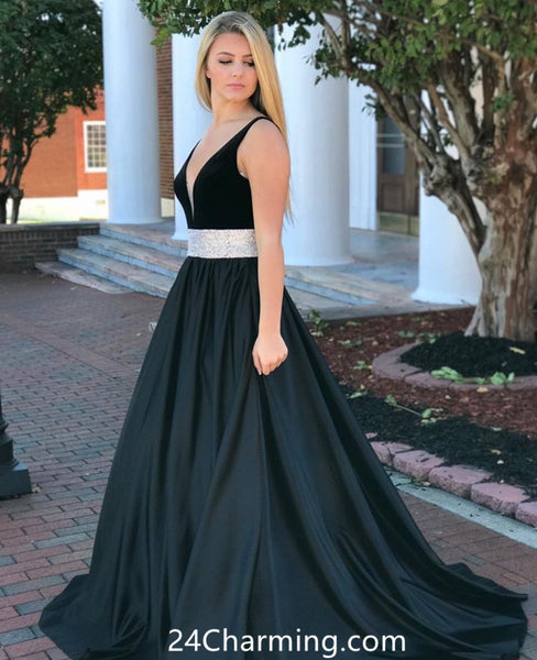 Black V Neckline Glitter Waist Prom Dress A Line Pageant Dress