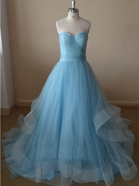 Light Blue Prom Dress,Sweetheart Prom Dresses,Evening Dresses