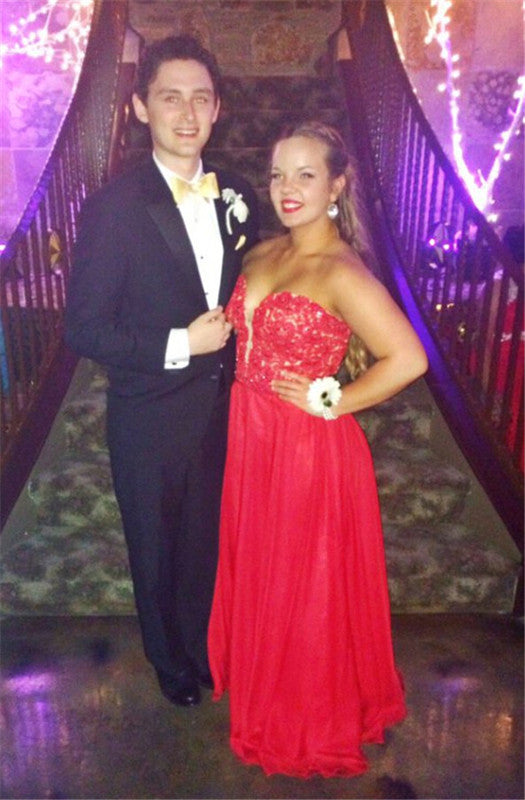 Sweetheart Red  A-Line Prom Dresses,Evening Dresses