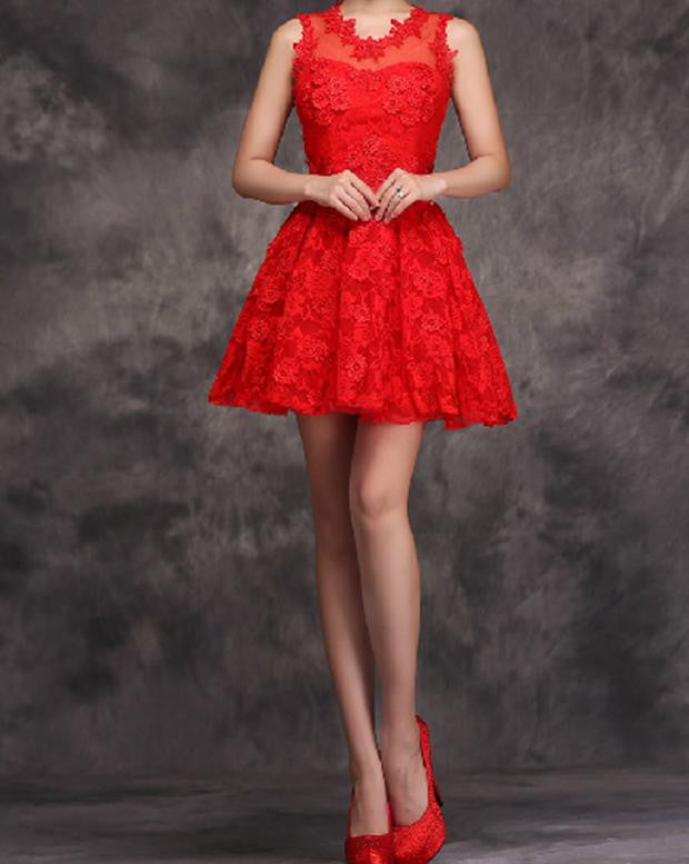 Red Lace Flower Homecoming Dress, Slevesless Homecoming Dress ,Homecoming Dresses