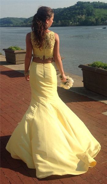 Two Piece Yellow Lace Satin Prom Dresses,Evening Dresses
