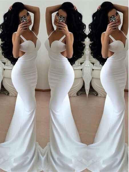 White Strpas Floor Length Mermaid Prom Dresses,Evening Dresses