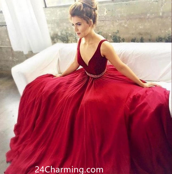 Burgundy Red V Neckline Spaghetti Straps Prom Dress, Burgundy Pageant Dresses