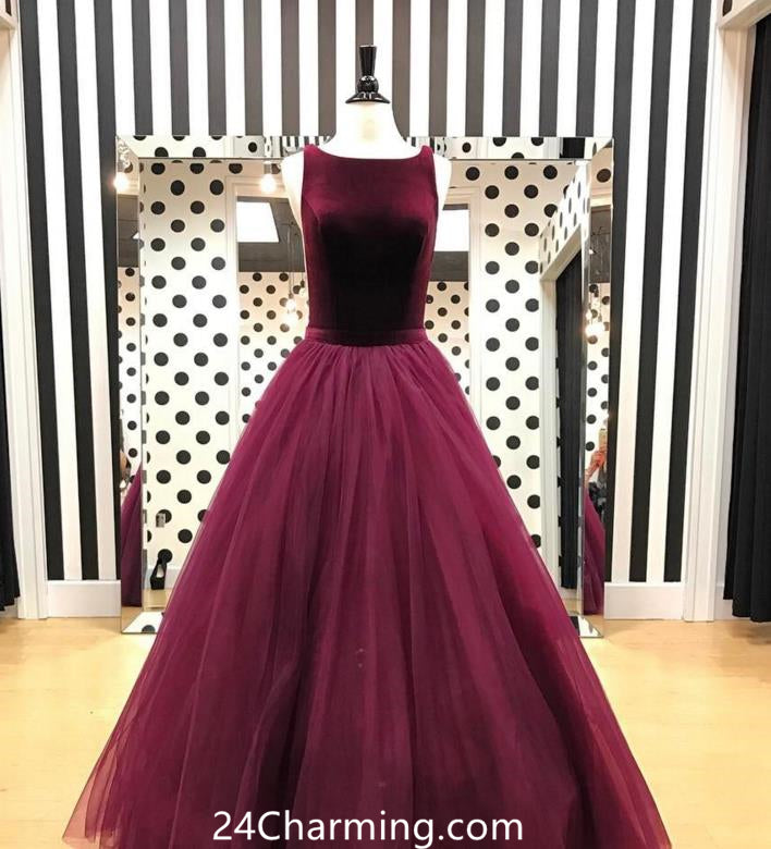 A Line Velvet Prom Dresses Burgundy Formal Velvet Pageant Dress