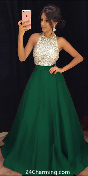 A Line Sequins Halter Prom dress Green Formal Pageant Dress
