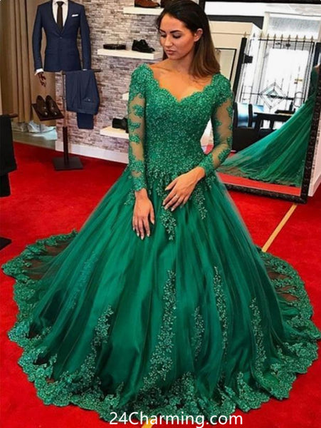 Long Sleeve Green Lace Prom Dress Sweetheart Pageant Dress