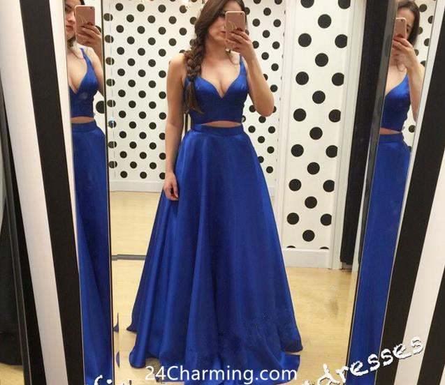 A Line Two Piece Blue Prom Dress Sweetheart Pageant Dresses
