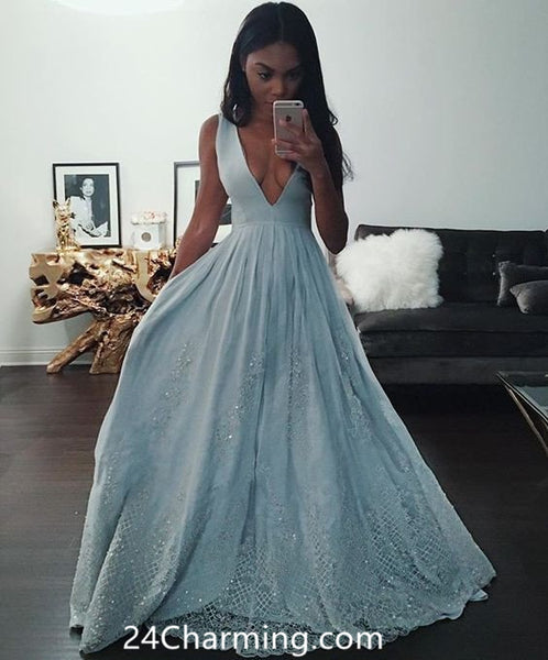 Deep V Blue Prom Dress Lace Pageant Dresses Lace Bottom