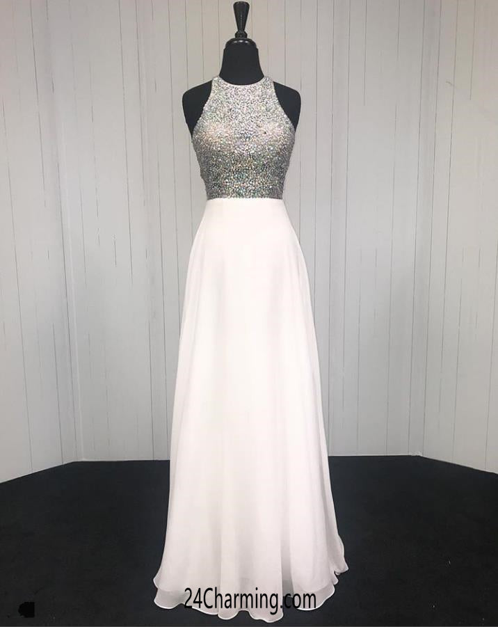 Long White Beaded Halter Prom Dress Evening Pageant Dresses