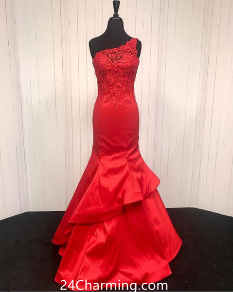 One Shoulder Red Lace Mermaid Prom Dresses Pageant Dress
