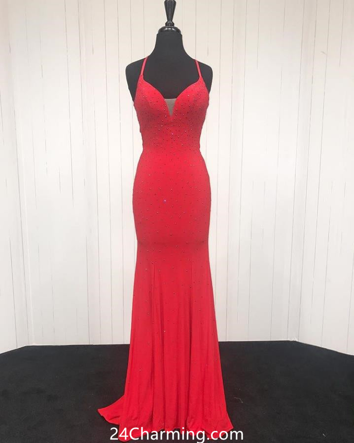 Halter Beaded Red Prom Dresses Deep V Necline Formal Pageant Dress
