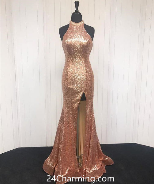 Sequined Gold Prom Dresses Halter Pageant Dresses