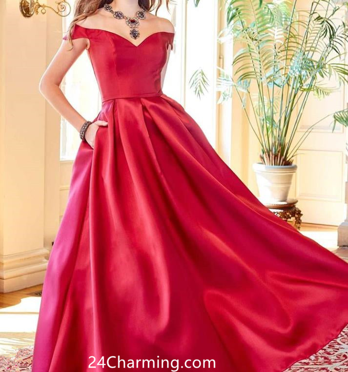 A Line Off Shoulder Prom Dress Satin Red Pageant Dress