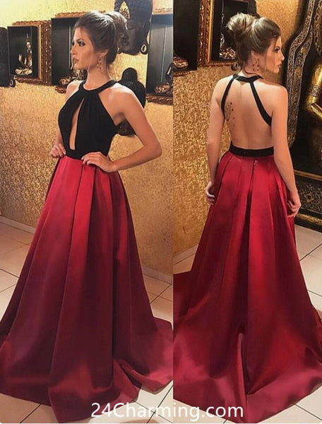 Satin Halter Backless Pageant Dress Red Prom Dresses