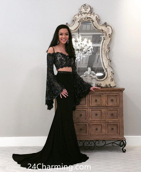 Long Sleeve Prom Dresses Lace Top Black Pageant Dress