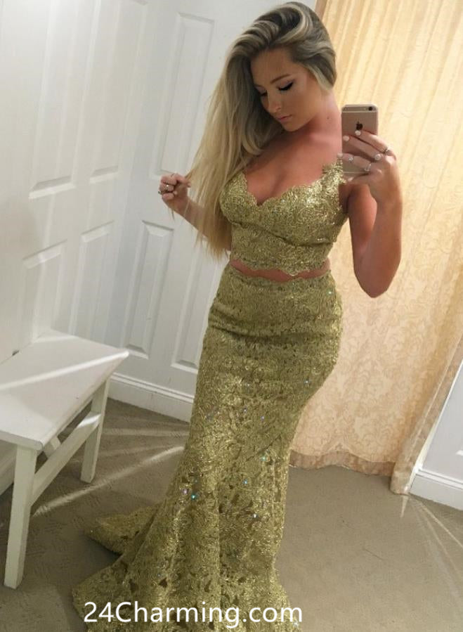 Two Piece Mearmaid Prom Dresses Gold Lace Pageant Dress
