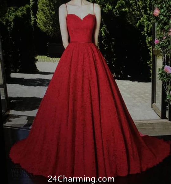 A Line Sweetheart Spaghetti Straps Prom Dress Red Lace Pageant Dresses
