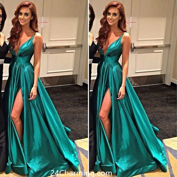 A Line Deep V Neckline Prom Dress Evening Dresses