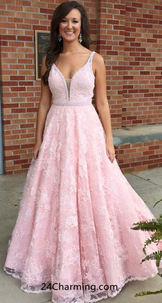 A Line Baby Pink Prom Dress Lace Beaded Pageant Dress