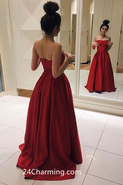 A Line Strapless Red Simple Prom Dress Pageant Dress