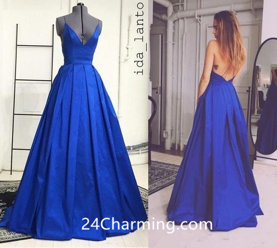 Royal Blue Spaghetti Straps Prom Dresses Pageant Dress With Criss Cross