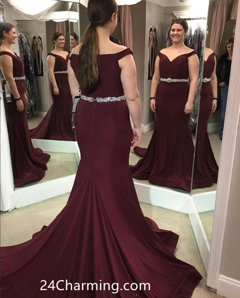 0cca26ef3 Off Shoulder Burgundy Prom Dresses Mermaid Pageant Dress with Beaded Waist