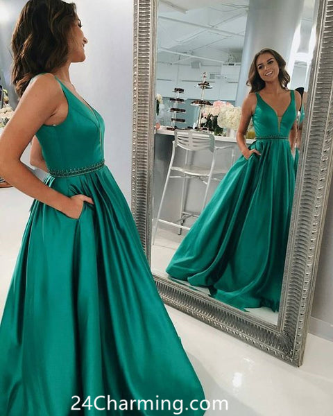 Teal V neck Long Prom Dress Beaded Pageant Dress With Pockets