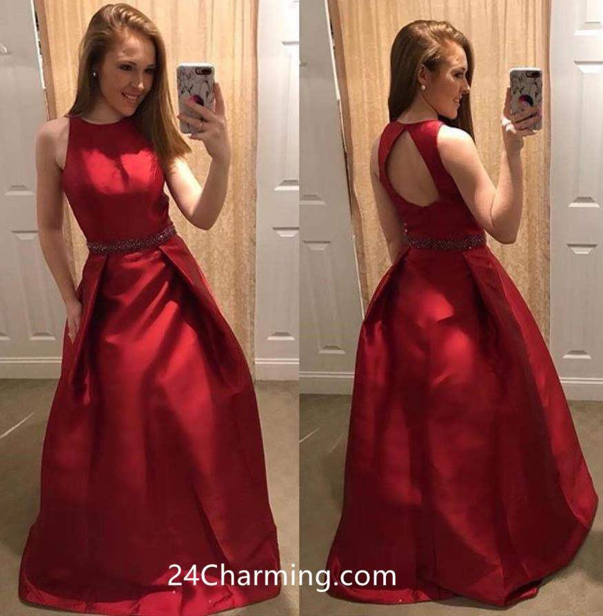 Red Beaded Prom Dress Open Back Pageant Dress