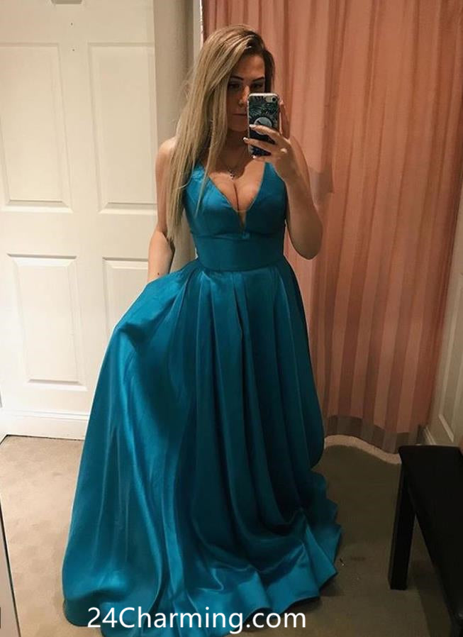 A line Teal Elegant Prom Dress V neck Pageant Dress