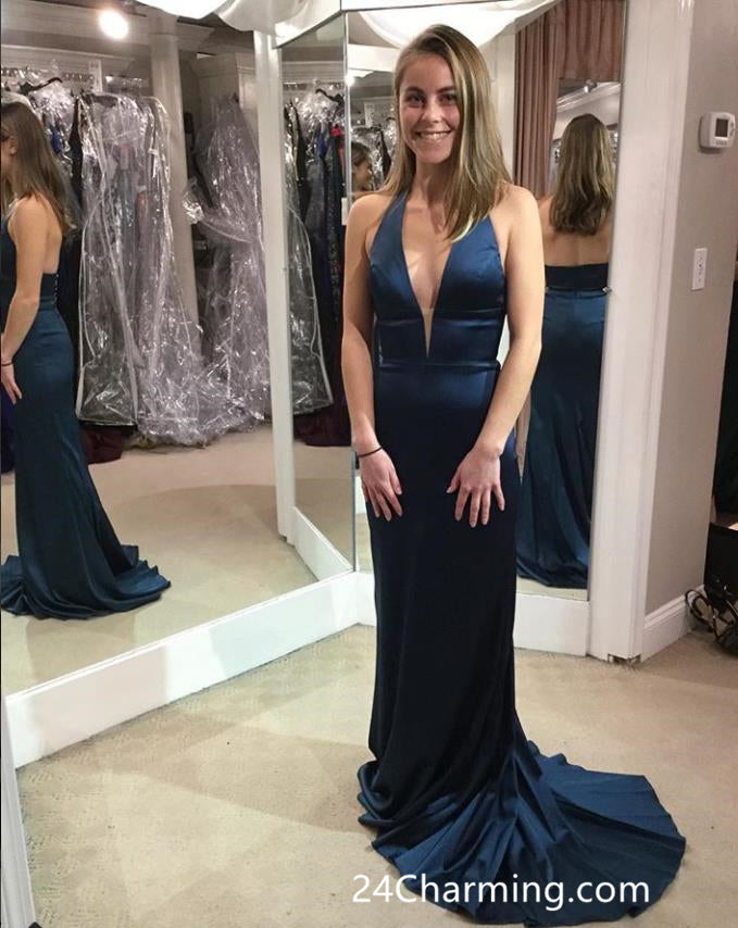 Charming Halter Teal Prom Dresses V-neck Pageant Dress