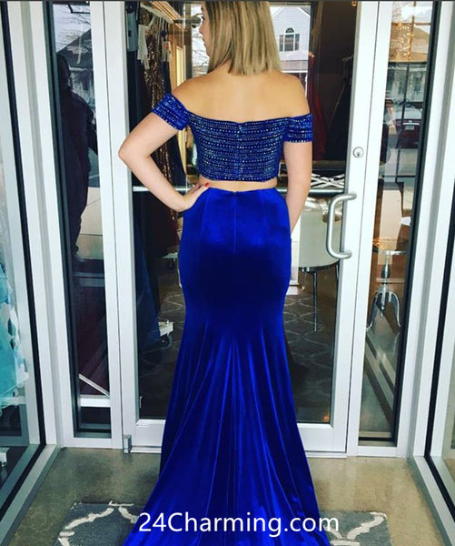 Royal Blue Beading Prom Dresses Two Piece Velvet Pageant Dress