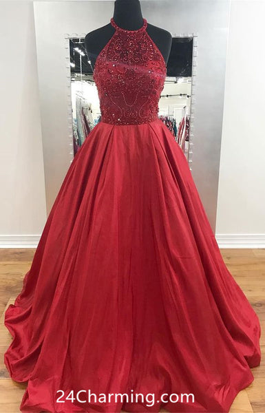 Red A Line Halter Prom Dresses Beaded Pageant Dresses