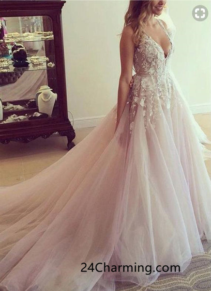 A line Open Back Blush Lace Sexy Prom Dresses, Long Train Applique PageantDresses