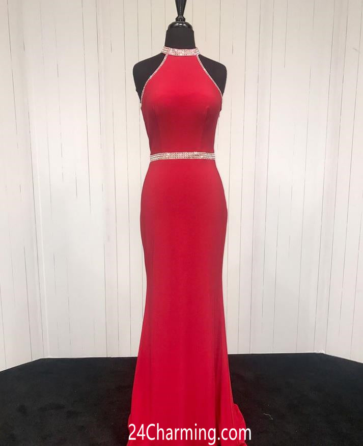 Red Halter Jersey Pageant Dress Beaded Pageant Formal Dresses
