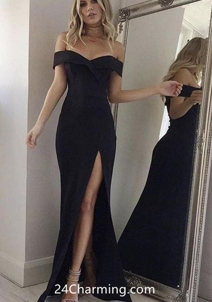 Off Shoulder Black Pageant Dress, Elegant Pageant Dresses