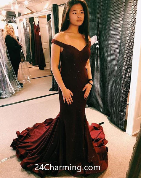 Off Shoulder Burgundy Prom Dresses Mermaid Beading Pageant Dresses
