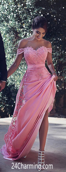 Pink Lace Appliques Prom Dresses off shoulder Sweetheart Pageant Dress