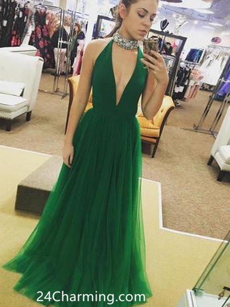 A Line Long Prom Dress, Green Pageant Dress